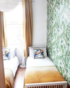 Jungle leaf wallpaper boys room, with mustard ombre yellow accents