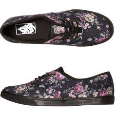 VANS WOMENS AUTHENTIC LO PRO SHOE FLORAL BLACK BLACK ($80) ❤ liked on Polyvore featuring shoes, vans, flower print shoes, floral shoes, vans shoes, vans footwear and floral printed shoes