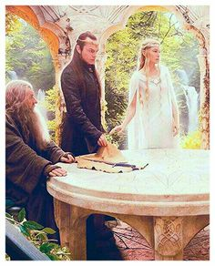 Gandalf,Elrond and Galadriel in the Rivendell