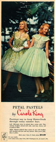 petal pastels by carole king 1960 60s color photo print ad dresses party day models magazine designer green yellow white summer print gingham