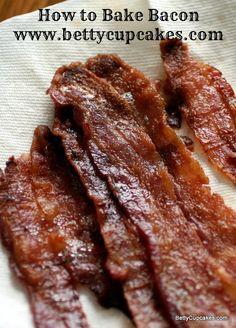 How to Bake Bacon | BettyCupcakes.com #bacon #oven #breakfast