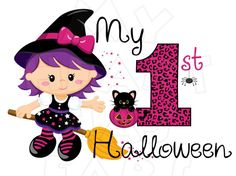 My 1st Halloween witch Digital Iron on transfer clip art image INSTANT DOWNLOAD DIY for Shirt
