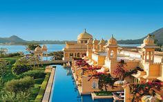 The Oberoi Udaivilas, India   A cooling dip at Oberoi Udaivilas, set within a 20-acre wildlife sanctuary    home to deer and wild boar, comes with the added bonus of shimmering views    of Lake Pichola.    Check    availability    Read more: India    travel guide