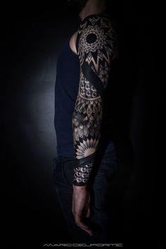 Geometric sleeve tattoos for men | Geometric Full Sleeve Tattoo By Anaïs B. Tattoo