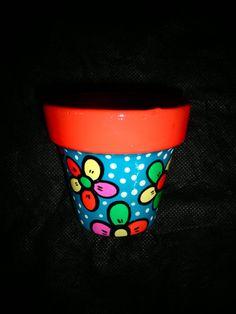 Maceta de barro pintada a mano, barnizada por dentro y fuera. Número 8 (Ideal para cactus) CONSULTA STOCK O PEDILAS CON AL MENOS DIEZ DIAS DE ANTIC...