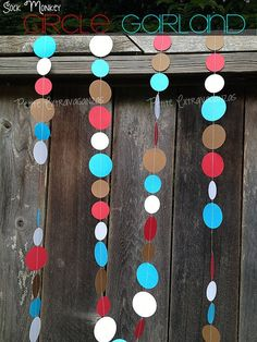 Items similar to Sock Monkey Paper Circle Garland- Red, White, Turquoise Blue, Brown on Etsy Monkey First Birthday, Monkey Birthday Parties, Baby Boy 1st Birthday, Birthday Party Decorations, Birthday Ideas, Sock Monkey Decor, Sock Monkey Baby, Circle Garland, Baby Sprinkle