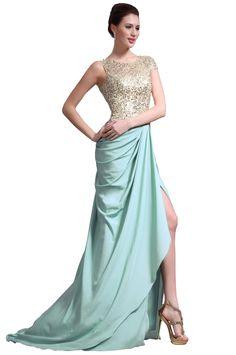 eDressit New Sequins Top High Split Green Evening Dress Prom Ball Gown(00137804)