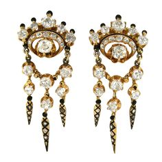 "Antique Diamond ""Crown"" Earrings! Austro-Hungarian, 1870-80"
