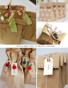 brown paper hamper bag with ta Present Wrapping, Creative Gift Wrapping, Creative Gifts, Eid Crafts, Diy And Crafts, Paper Crafts, Cookie Packaging, Gift Packaging, Christmas Wrapping
