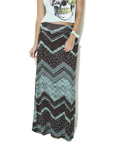 Zig Zag Tribal Maxi Skirt from Wet Seal