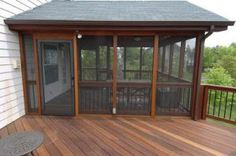 Enhance your deck design with a 'roof' cover — slatted pergola, solid roof, open or screened gazebo or screened in deck — for privacy and style. Slatted Deck Pergola A well-… Screened Porch Designs, Screened In Deck, Screened Porches, Enclosed Porches, Screened Porch Decorating, Front Porch, Enclosed Decks, Cabin Porches, Porch Kits