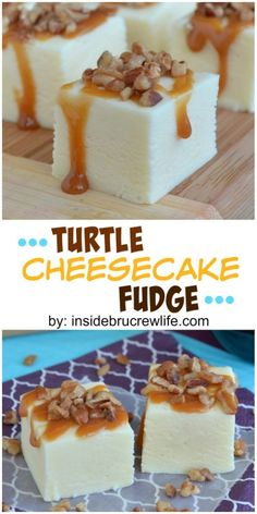 This easy cheesecake fudge is topped with caramel and pecans for a fun turtle taste!