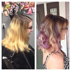 Balayage blending on some seriously brassy grown out bleaching! With pravana violet pieces!