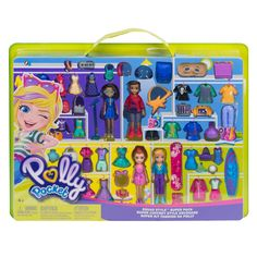 This collection features 4 Polly Pocket characters including: Polly doll, Lila doll, Shani doll and Nicolas Wells doll. Each doll comes with its own themed fashions and accessories. Polly Pocket World, Ri Happy, Makeup Themes, Soccer Theme, Baby Doll Accessories, Fisher Price, Mini Craft, Lol Dolls, Surf