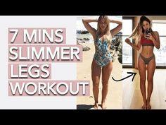 Slim Legs Workout 7 Minutes You Slim Legs Workout, Leg Workout At Home, At Home Workouts, Skinny Leg Workouts, Fat Workout, Thinner Thighs Workout, Slim Down Thighs, Lean Thighs, How To Slim Thighs
