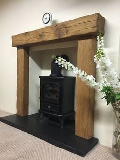 solid rustic oak beam fire surround with 54 mantle - various mantles to choose in Home, Furniture & DIY, Fireplaces & Accessories, Mantelpieces & Surrounds Wood Burner Fireplace, Concrete Fireplace, Home Fireplace, Fireplace Surrounds, Fireplace Design, Wooden Fireplace Surround, Fireplace Ideas, Wooden Fire Surrounds, Fireplace Suites