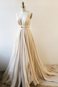 A-Line Deep V-Neck Court Train Backless Champagne Lace Prom Dress With Sash