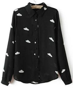 Cloud Button-up Chiffon Shirt - OASAP.com