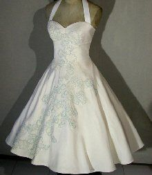 LOVE!! retro wedding dress; but needs to be longer (or a different color so I can wear it as a regular dress)