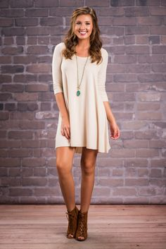 """""""The Kelley Dress, Khaki""""This dress is perfect because it can be anything you want it to be! It can be cute with a trendy necklace and wedges or if cute isn't your thing you can even make it edgy with a plaid button down tied around your waist and boots! #newarrivals #shopthemint"""