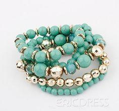 Glamorous Green Ball Beads Lady's Fashion Alloy Elastic Bracelets Set Fashion Bracelets