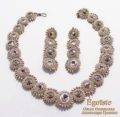 Купить EGOISTE №34 - Свадебное колье и серьги ELEGANT - серебряный, Сваровски, swarovski, свадебные украшения
