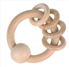 Afbeelding van Baby speel/bijtring met 4 kleine ringen -blank hout
