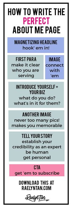 How to Write the Perfect About Me Page (With Examples   Printable Graphic!) What Your About Page Must Do. The Anatomy of a Perfect About Page.