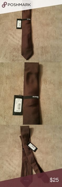 Men's Murano Silk Tie Men's Murano Silk Tie. NWT. Brown Color. Never Been Worn. Slim. Murano Accessories Ties