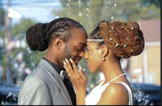 The happy couple on their wedding day. #Dreadlocks #Locs #Wedding #Couple