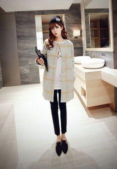 Korean Fashion - Long plaid woolen coat