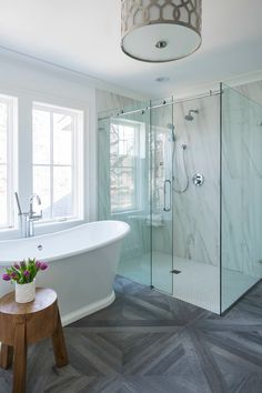 Modern Bathroom Shower With Transitional Theme