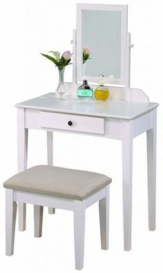 Shop a great selection of Crown Mark Iris Vanity Table/Stool, White Finish Beige Seat (Renewed). Find new offer and Similar products for Crown Mark Iris Vanity Table/Stool, White Finish Beige Seat (Renewed). Ikea Malm Dressing Table, Furniture Dressing Table, Dressing Table Set, Dressing Mirror, Makeup Table With Mirror, Wood Makeup Vanity, Makeup Stool, Makeup Tables, Table Mirror