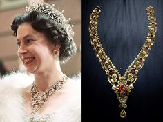 Inside Queen Elizabeth's Impressive Jewelry Box | RUBY BANDEAU NECKLACE | This diamond-and-ruby necklace with floral detailing was another wedding gift to Queen Elizabeth from her parents, King George VI and Queen Elizabeth (and all your parents got you was a blender). It was frequently worn by the Queen in her younger years.