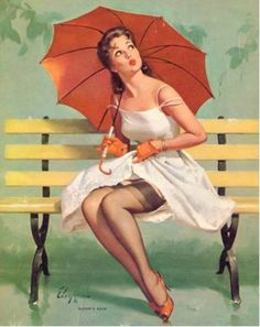 """""""Queen's Rain"""" Illustration by Gil Elvgren  Garter Belts, nylons... red umbrella and a nice looking gal."""