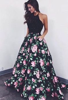 ball gown prom dress, fashion flower print party dress