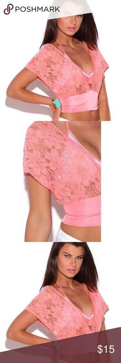 Lace Kimono Sleeve CropTop. LAST ONE This cute lace top is a must-have in every wardrobe! Bring a little Miami bike to town with chiffon wide leg pants or dress up with a pair of dressy high waisted shorts or miniskirt, double waist band ensures great fit and structure. Designed to ensure the shoulder part stays in place while you can have the sexy V-neck and open! Online. Slightly sheer. 60% rayon. 38% nylon. 2% spandex. Made in USA. This item is not branded and comes with no tags Tops Crop…