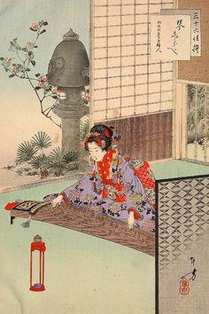 Playing the Koto: from the series Thirty-six Elegant Selections (Sanjûroku kasen) by Mizuno Toshikata