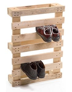 DIY Idea: Make a Mudroom Shoe Rack from Pallets!  Paint to match wall or contrast wall and put strip of foam (or even window/door weatherstripping AhHa!) to keep shoes unscuffed from wood and help with grab factor!