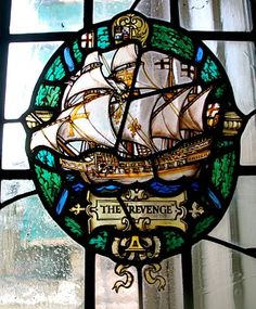 "Stained-Glass:  #Stained-glass ship ""The Revenge."""