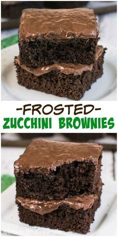 Adding shredded zucchini and chocolate frosting takes these brownies over the top!  They disappear in a hurry!