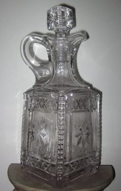 """Antique EAPG 1900 MODEL FLINT GLASS CO """"GRACE"""" 1 PINT SQUARE DECANTER"""