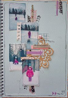 With head in scrapbooking: Smash book Pages. Skating with slides. I love that she doodled on the pictures. It really stands out