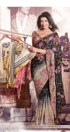 Sari, like the black foreground and colour with metallic.