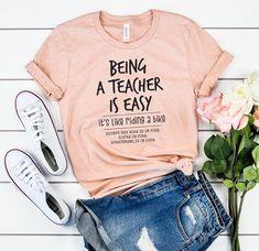 Being a Teacher is Easy Teacher Shirts Back to School Like Riding a Bike Teacher Gifts New Teacher Funny Teacher Shirt - Funny Mom Shirts - Ideas of Funny Mom Shirts - Foto Cv, Teacher Humor, Math Teacher Shirts, Teaching Shirts, Teacher Outfits, Teacher Wardrobe, Teacher Clothes, Diy Clothes, New Teachers
