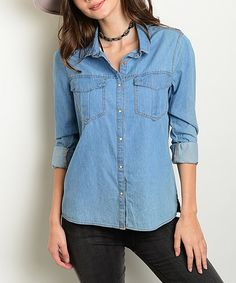 Another great find on #zulily! Blue Chambray Button-Up #zulilyfinds
