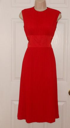 Vintage 1950s red wiggle evening cocktail Christmas party dress union label mad men
