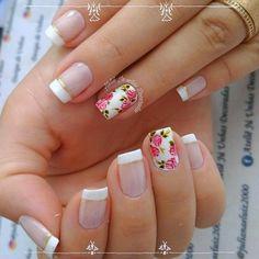 Beautiful Nail Designs, Cute Nail Designs, Beautiful Nail Art, Gorgeous Nails, Red Gel Nails, Glitter Nails, Best Acrylic Nails, Summer Acrylic Nails, Flower Nail Designs