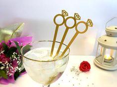 Diamond Ring Cocktail Swizzle Stir Sticks Bridal Table Party Bridal Shower Decor Gold Drink Stirrer Wedding Diamond Geometric Bachelorette