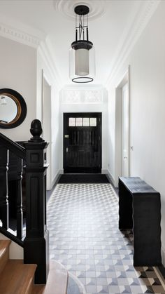 Our comprehensive range of designs feature many classic Victorian, Edwardian and Georgian styles, and unique modern geometric schemes. Victorian Hallway Tiles, Tiled Hallway, Hall Flooring, Modern Victorian, Tile Design, Decoration, Foyer, Entryway, House Styles